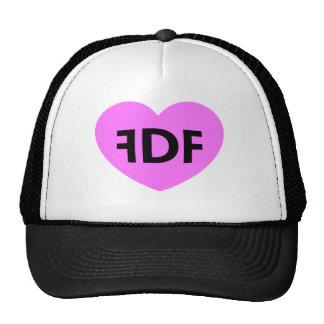FDF Pink Heart Black Trucker Hat