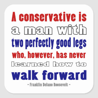 FDR Defines Conservatives Darker Square Sticker