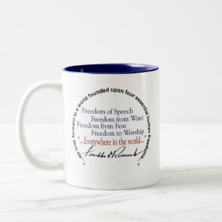 FDR Franklin D Roosevelt Four Freedoms Two-Tone Coffee Mug