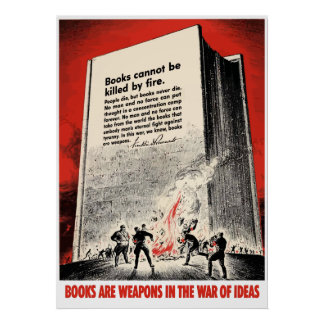 FDR Quote On Book Burning -- Border Poster