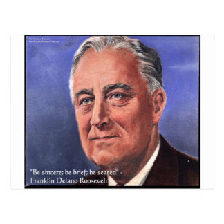 "FDR (Roosevelt) ""Be Brief"" Wisdom Quote Gifts Postcard"