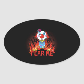 Fear Me Clown Oval Sticker