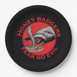 Fear No Evil Honey Badger Funny Animal Red Design 9 Inch Paper Plate