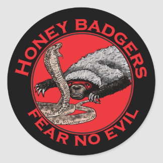 Fear No Evil Honey Badger Funny Animal Red Design Classic Round Sticker