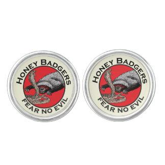 Fear No Evil Honey Badger Funny Animal Red Design Cuff Links
