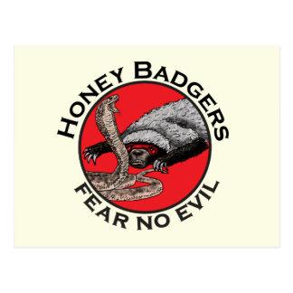 Fear No Evil Honey Badger Funny Animal Red Design Postcard