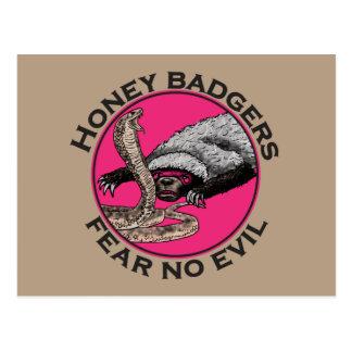 Fear No Evil Honey Badger Funny Pink Animal Design Postcard