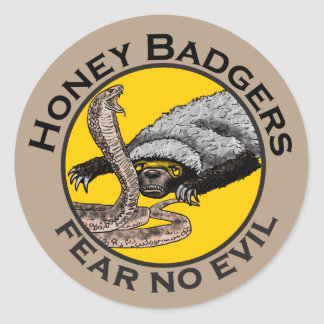 Fear No Evil Honey Badger Snake Animal Art Design Classic Round Sticker