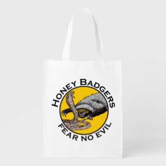 Fear No Evil Honey Badger Snake Animal Art Design Market Totes