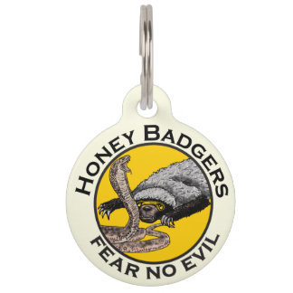 Fear No Evil Honey Badger Snake Animal Art Design Pet ID Tag