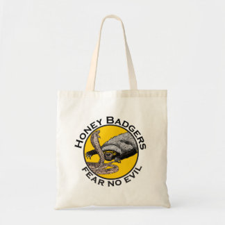 Fear No Evil Honey Badger Snake Animal Art Design Tote Bag