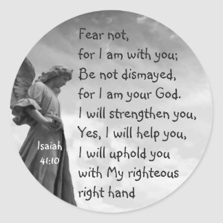Fear Not, Isaiah Scripture Comforting Angel Classic Round Sticker