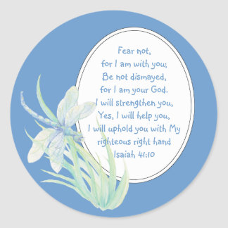 Fear Not, Isaiah Scripture Dragonfly Blue, Green Classic Round Sticker