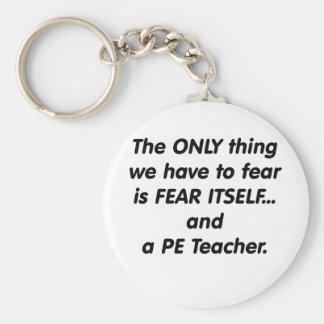 Fear PE Teacher Basic Round Button Keychain