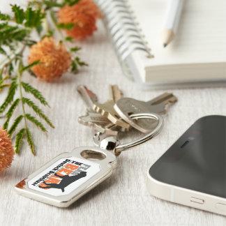 Fear the Beard - Deutsch Drahthaar Silver-Colored Rectangle Keychain