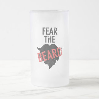 Fear the beard frosted glass beer mug