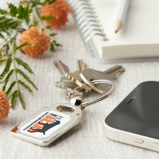 Fear the Beard - German Wirehaired Pointer Silver-Colored Rectangle Keychain