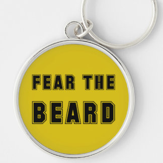 FEAR THE BEARD Silver-Colored ROUND KEYCHAIN