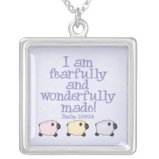 Fearfully and Wonderfully Made - Blue Silver Plated Necklace