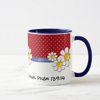 Fearfully and Wonderfully Made Denim Dots..Daisies Mug