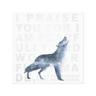 Fearfully and Wonderfully Made Verse Wolf Canvas
