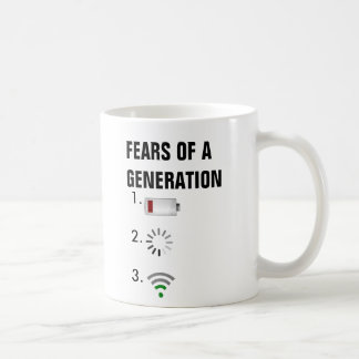 Fears of a generation low battery, loading icon, coffee mug