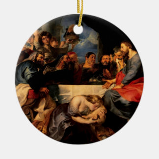 Feast of Simon & Mary Magdalene Kissing Jesus' Fee Double-Sided Ceramic Round Christmas Ornament