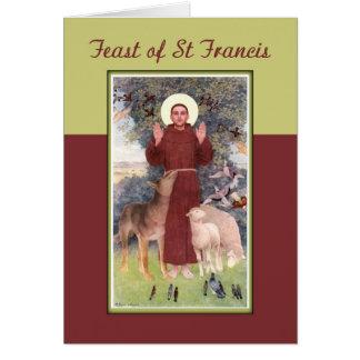 Feast of St. Francis, Animals and Stigmata Card
