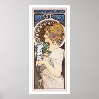 Feather - Alphonse Mucha - Vintage Art Nouveau Poster