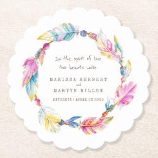 Feather and beads wreath boho wedding coasters