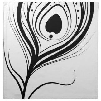 feather art design black fashion napkin