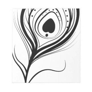 feather art design black fashion notepad