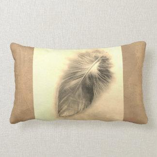 feather art pillow design in sepia tones