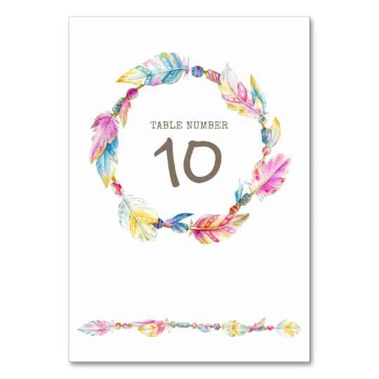 Feather beads wreath watercolor art table numbers table card