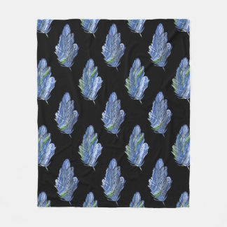 Feather Blue Green Painting Black Fleece Blanket