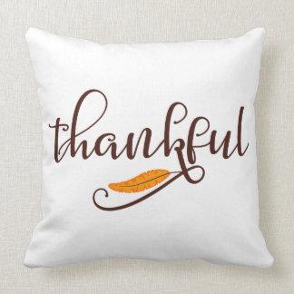 Feather Boho Native Thankful Typography Throw Pillow