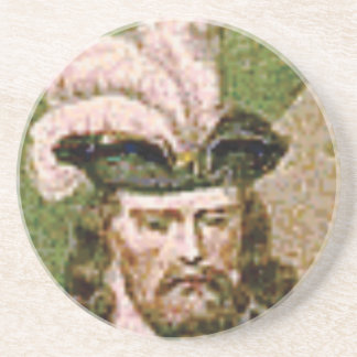 feather capped bearded man coaster