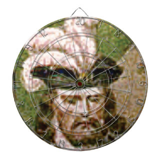 feather capped bearded man dartboard