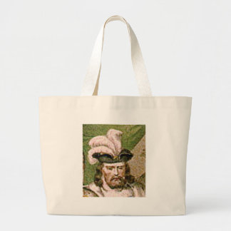 feather capped bearded man large tote bag