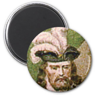 feather capped bearded man magnet