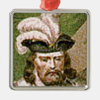 feather capped bearded man metal ornament