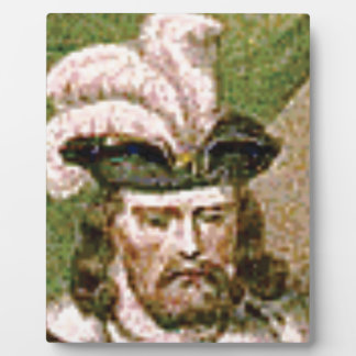 feather capped bearded man plaque