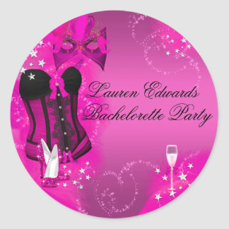 Feather Corset Pink Bachelorette Party Sticker