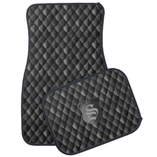 Feather Dragon Scale Armor Black Monogram Car Mat