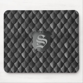 Feather Dragon Scale Armor Black Monogram Mouse Pad
