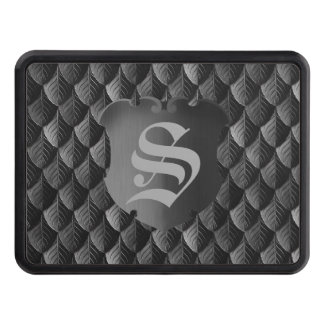 Feather Dragon Scale Armor Black Monogram Trailer Hitch Cover