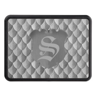 Feather Dragon Scale Armor Silver Monogram Trailer Hitch Cover