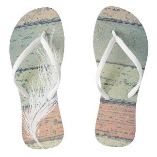 Feather flip flops