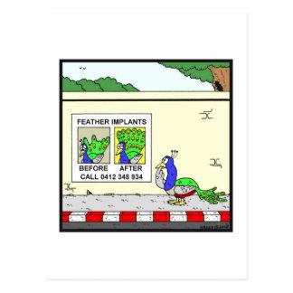 Feather Implants: Peacock cartoon Postcard
