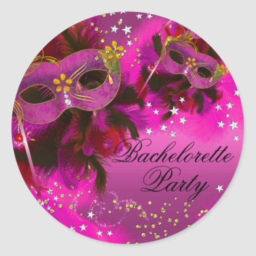 Feather Mask Masquerade Bachelorette Party Sticker